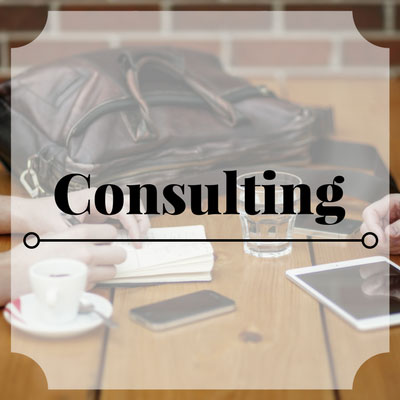 Consulting services link with two people working together at table