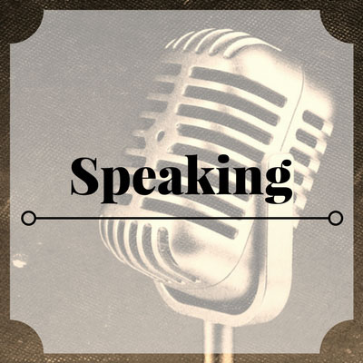 Speaking services link with old-timey microphone