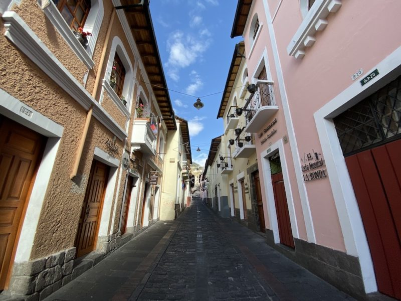 View of the street La Ronda in Quito, Ecuador